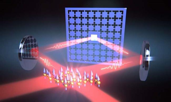 激光回路将纳米机械膜的振动与原子云的自旋连接起来。图片来源:巴塞尔大学物理系.jpg