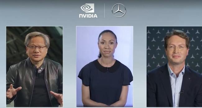 Nvidia首席执行官黄仁勋(Jensen Huang)和梅赛德斯·奔驰(Mercedes-Benz AG)首席执行官Ola Kallenius在一次在线活动中宣布了一项合作协议的计划,该合作协议将在2024年末之前制造具有AI功能的汽车。.jpg