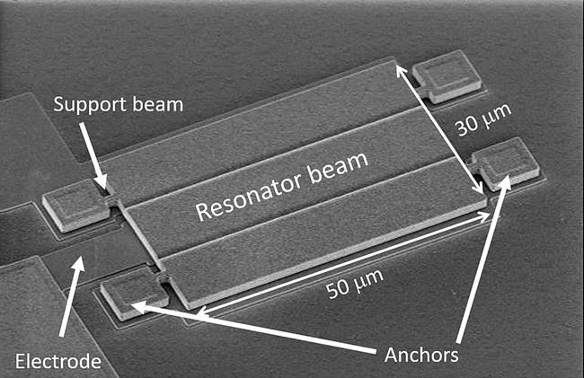 图1:此图像显示了仅30 µm x 50 µm的微加工FFS谐振器束的扫描电子显微镜(SEM)。.png