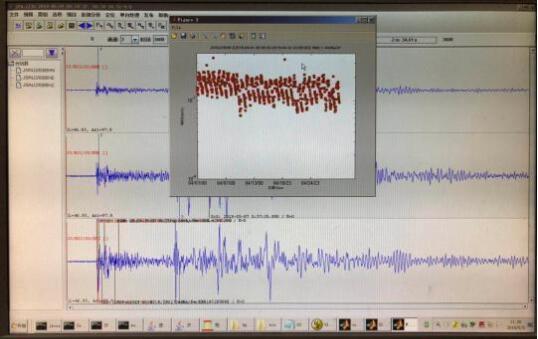 地震计监测得出的地震波形图