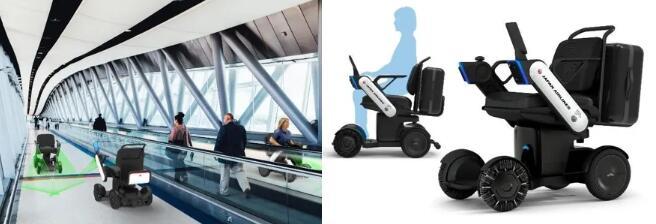 该轮椅可通过传感器和自动刹车,实现有效避障。